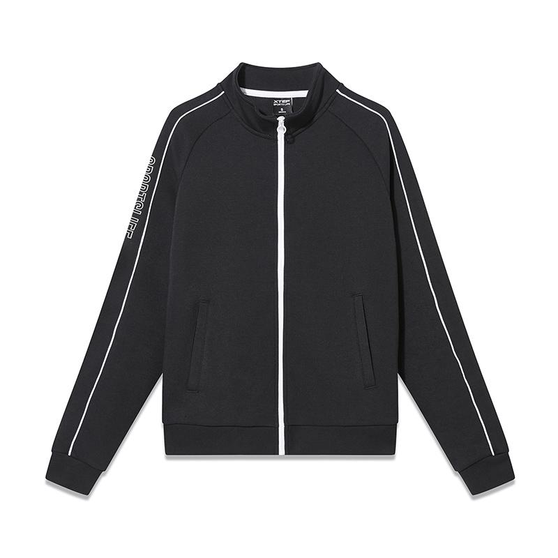 特步 专柜款 女子针织上衣 2019春新款简约拉链舒适运动外套981128061865