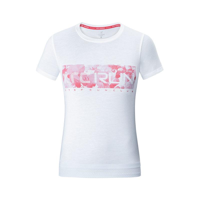 特步 专柜款 女子短袖针织衫 19夏新款运动时尚T恤981228012553