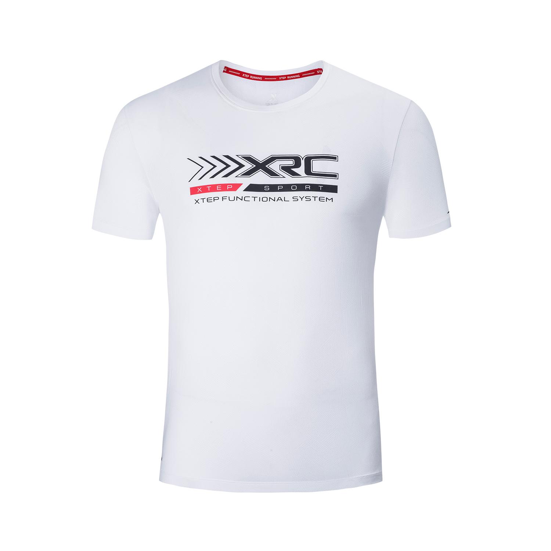 特步 专柜款 男子短袖针织衫 19夏新款透气干爽跑步T恤981229012582