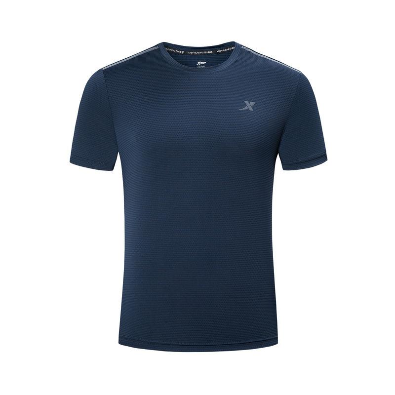 特步 男子短袖针织衫 19夏新款舒适运动圆领短袖881129019467