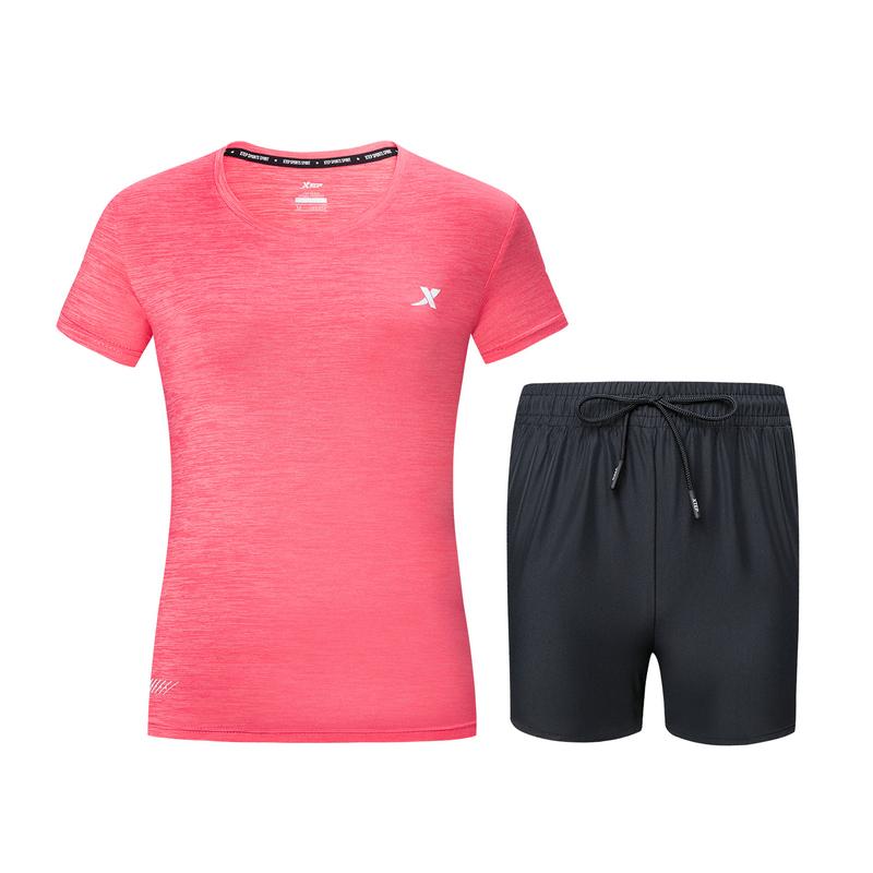 【8折专区】【两件套】特步 女子针织跑步套装 19夏新款跑步舒适透气运动套装881228959236