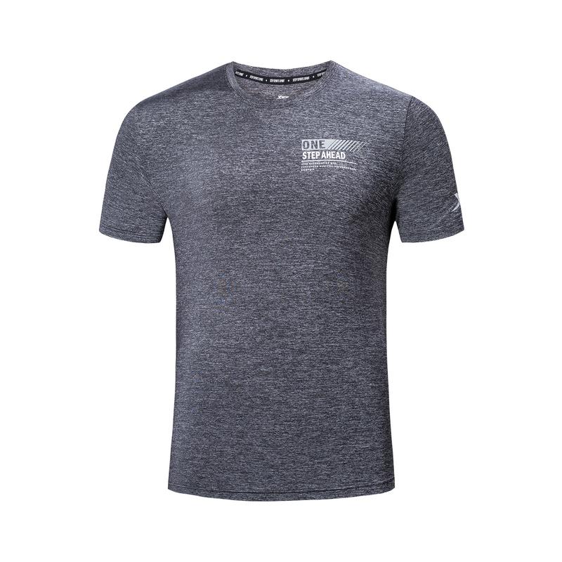 特步 男子短袖针织衫 19夏新款跑步运动舒适短袖881229019103