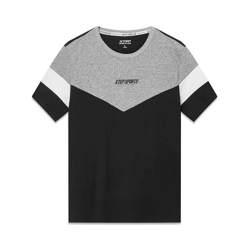 特步 专柜款 男子短袖针织衫 19夏新款简约休闲都市上衣981129012469