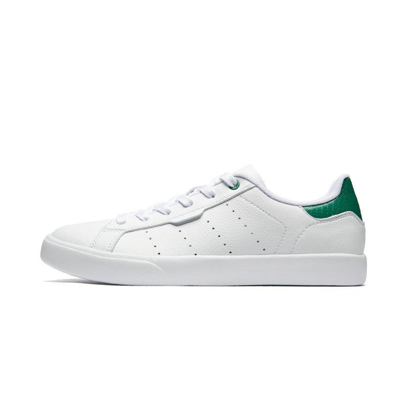 特步 专柜款 男子板鞋 2019夏季新款运动男休闲鞋革面板鞋绿尾小白鞋981219316285