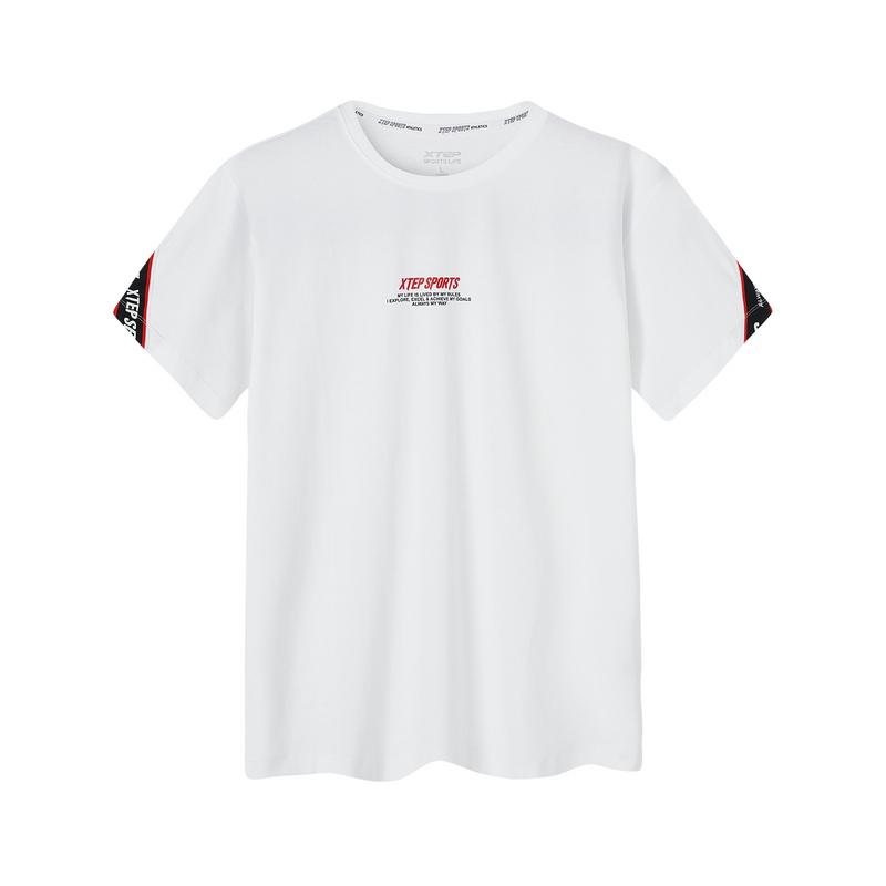 特步 专柜款 短袖T恤男2019夏季新款时尚潮流宽松男装上衣休闲T恤透气轻薄981229012560