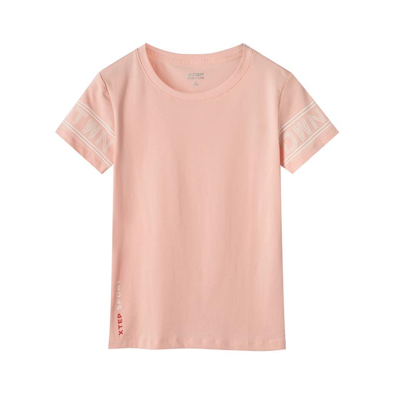 特步 专柜款 女子短袖针织衫 夏新款舒适字母时尚休闲短袖981228012636