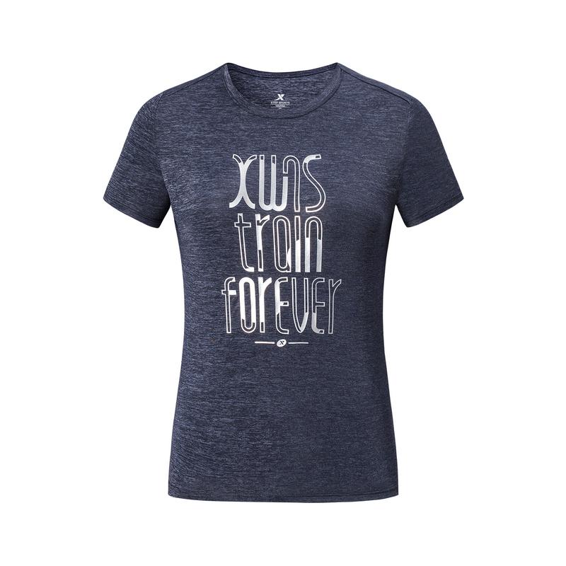 特步 专柜款 女子短袖针织衫 19夏新款简约跑步健身透气T恤981228012602