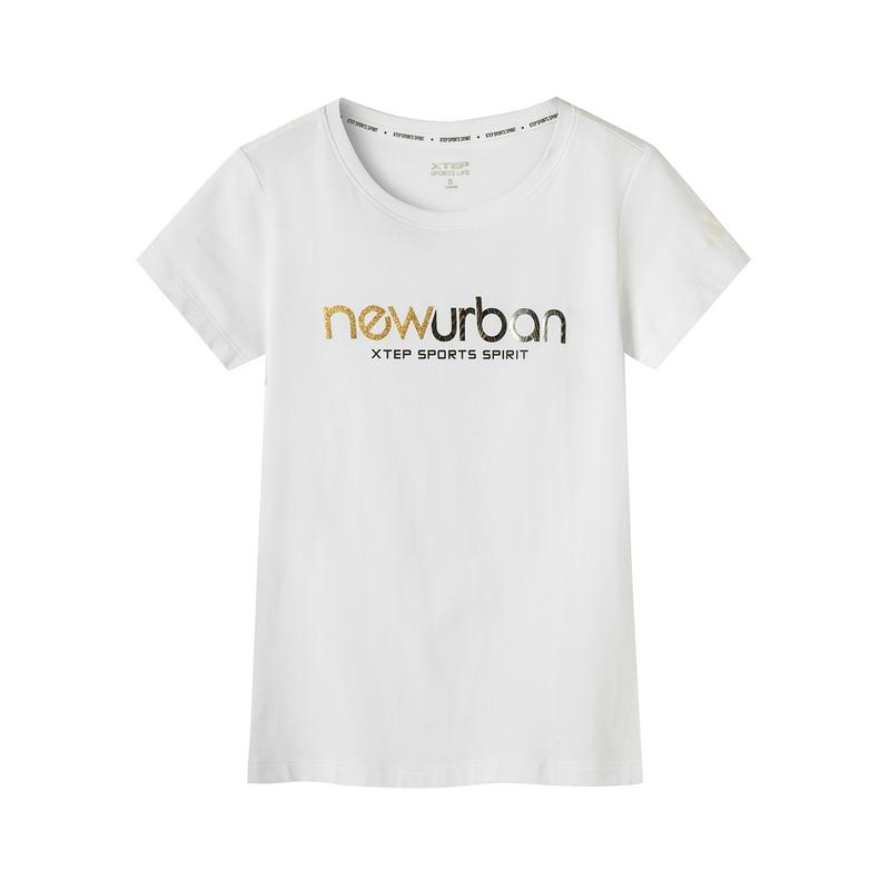 特步 专柜款 女子短袖针织衫 19夏新款字母印花潮流透气上衣981228012663