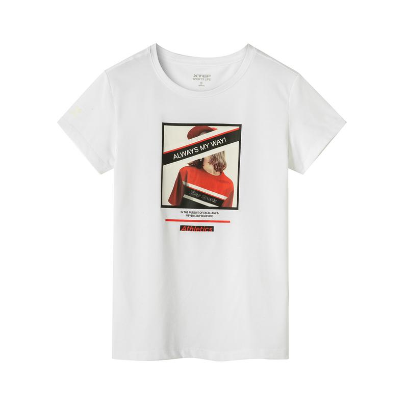 特步 专柜款 女子短袖针织衫 19夏新款时尚潮流印花图案上衣981228012669