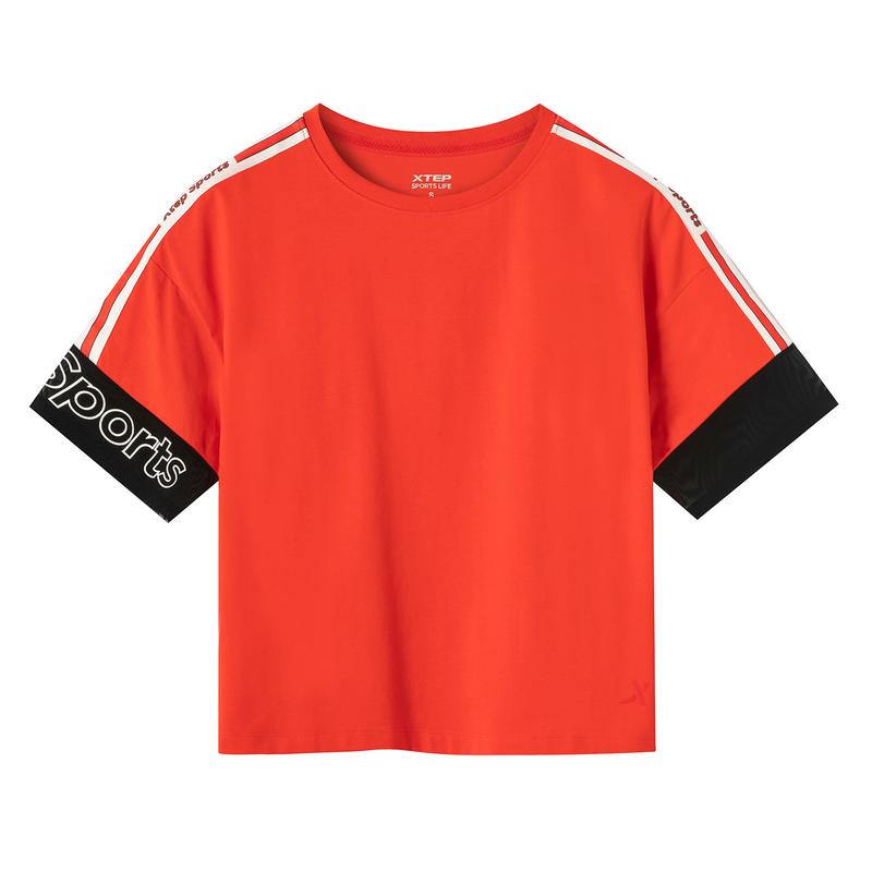 特步 专柜款 女子短袖针织衫 19夏新款时尚都市活力运动上衣981228012681