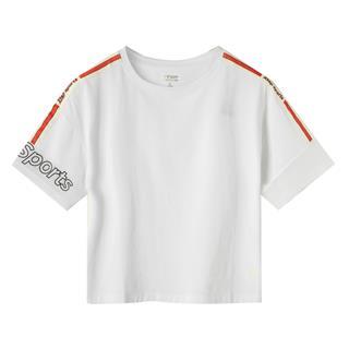 特步 专柜款 女子短袖针织衫 夏新款时尚都市活力运动上衣981228012681