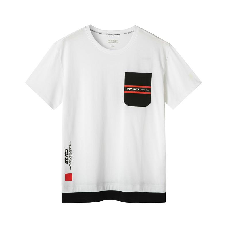 特步 专柜款 男子夏季都市休闲活动撞色拼接时尚百搭短袖T恤981229012763
