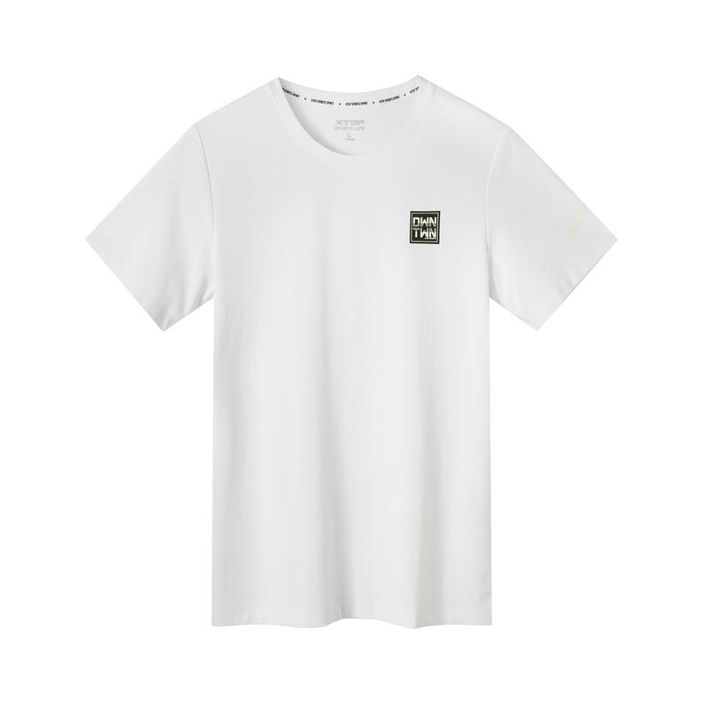 特步 专柜款 男子夏季都市休闲时尚百搭纯色圆领短袖981229012778