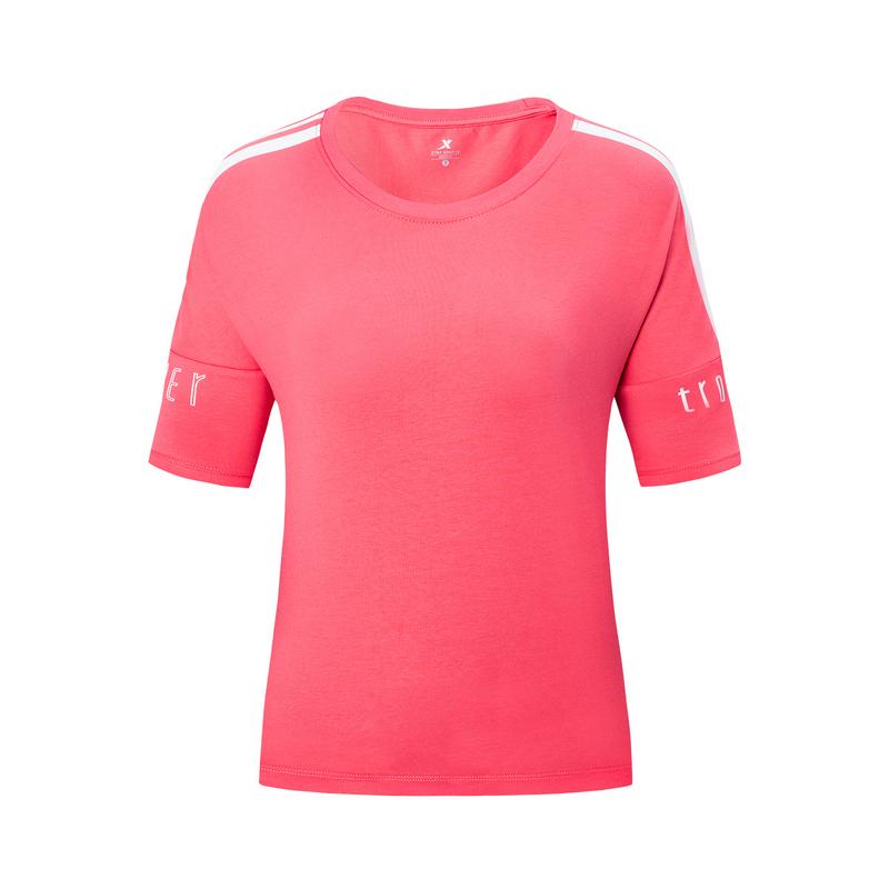 【景甜同款】特步 专柜款 女子短袖2019年夏季新款短袖宽松透气针织衫981228012721