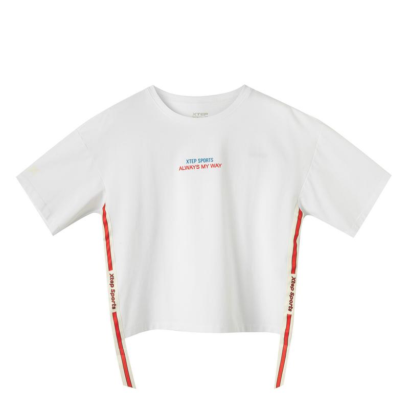 特步 专柜款 女子短袖 2019新款舒适透气运动休闲T恤针织衫981228012782