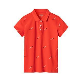 特步 专柜款 女子短袖薄款翻领POLO衫运动上衣981228021107