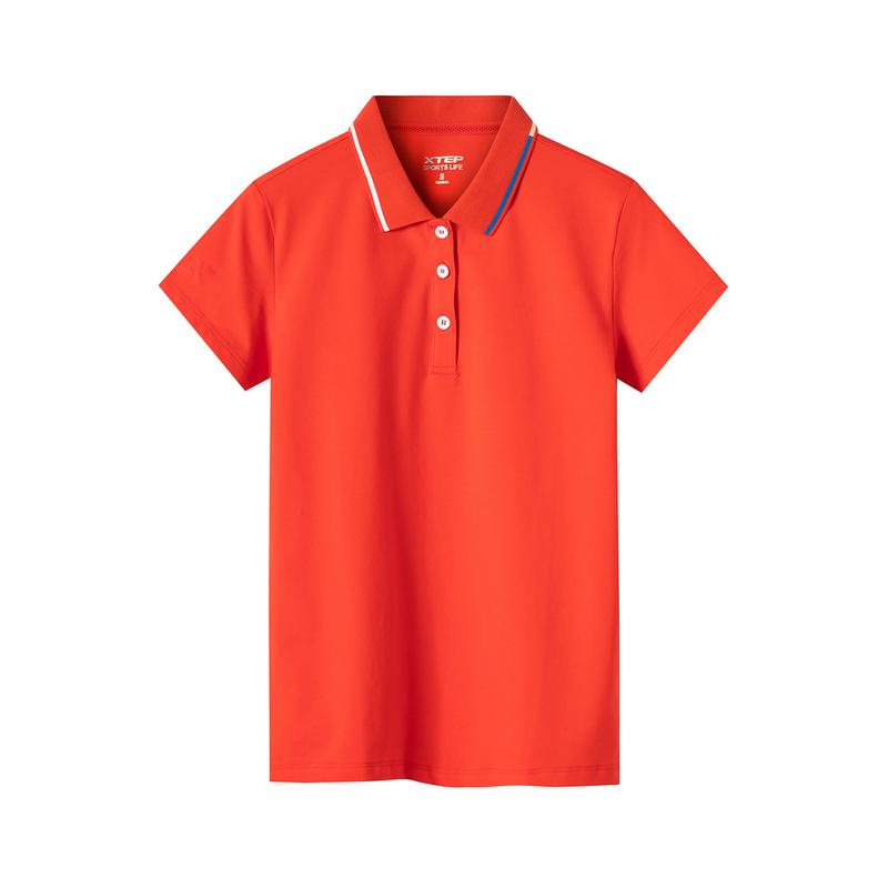 特步 专柜款 女子短袖 2019夏新款翻领POLO衫透气纯色T恤上衣981228021108
