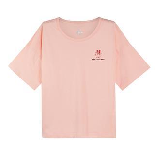 【地产大亨联名款】特步 女子短袖针织衫 2019春季新款宽松舒适休闲T恤881128019405