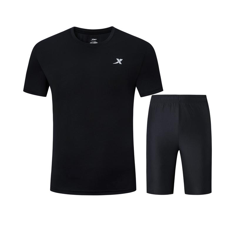 特步 男子夏季新款运动套装跑步舒适透气两件套881229959305