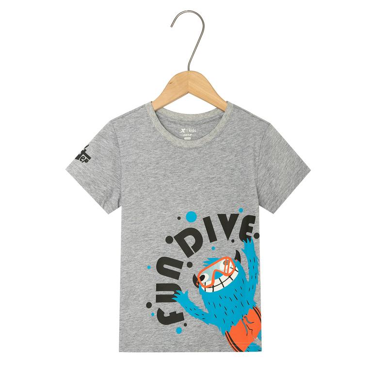 特步 男童短袖针织衫 儿童中小童圆领休闲T恤681225019141