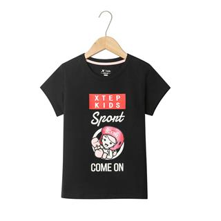 特步 女童短袖针织衫 19夏新款儿童中大童休闲时尚卡通T恤681224019112