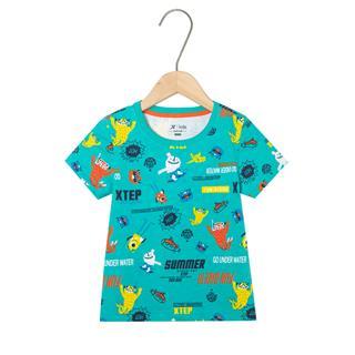 特步 男童短袖针织衫 儿童中小童舒适卡通时尚T恤681225019139