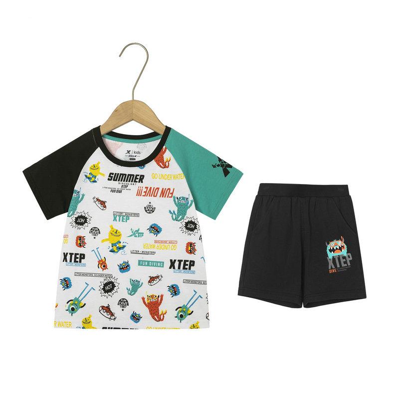 特步 男童针织套装 19夏新款儿童中小童短T短裤两件套681225349146