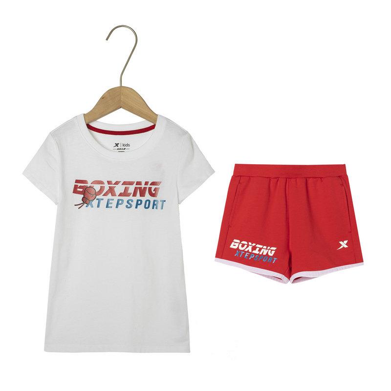 特步 女童针织套装 19夏新款儿童中大童短袖短裤运动两件套681224349114