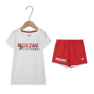 特步 女童针织套装 儿童中大童短袖短裤运动两件套681224349114