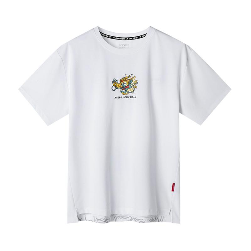 【地产大亨联名款】特步 专柜款 男子针织短袖 2019夏季时尚圆领短袖T恤981229012586