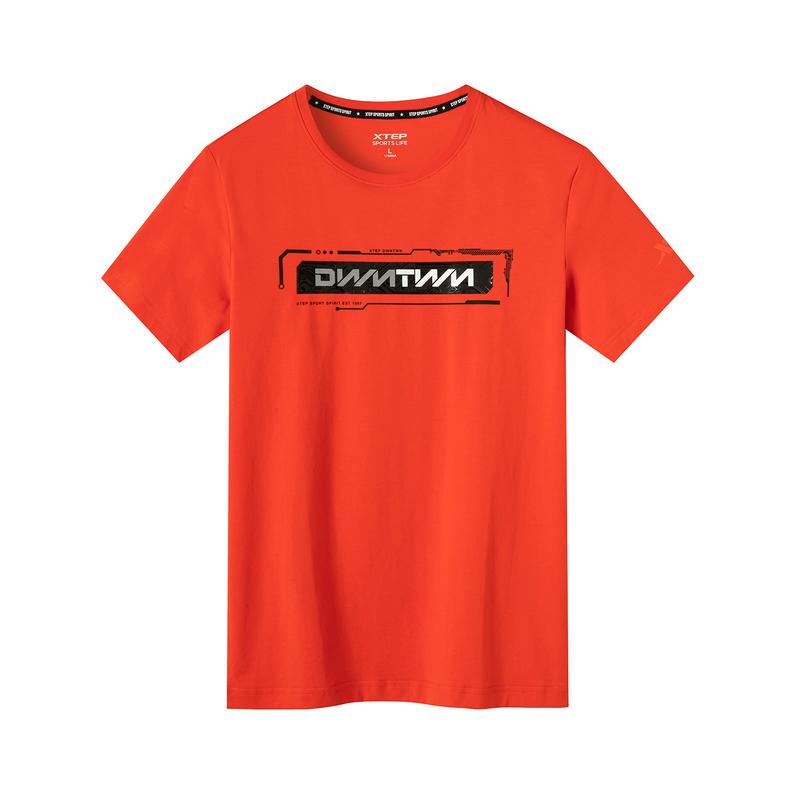 特步 专柜款 男子针织短袖 2019夏季新款透气短T时尚字母跑步运动T恤981229012623
