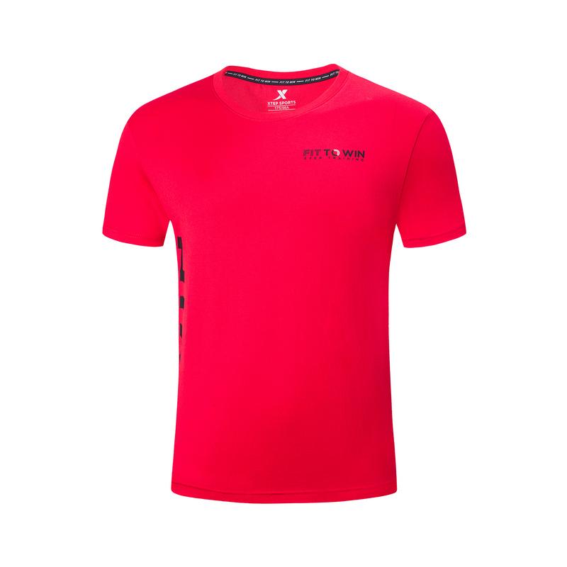 特步 专柜款 男子针织短袖 2019夏季舒适透气时尚圆领运动男短袖上衣981229012682