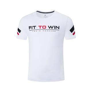 特步 专柜款 男子短袖针织衫 跑步健身综训短袖恤透气运动男装字母981229012704