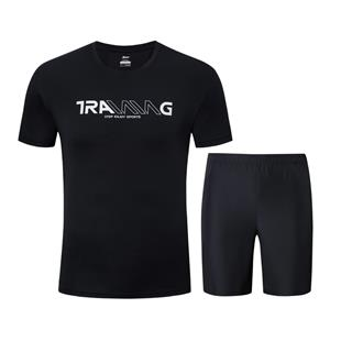 特步 男子运动套装 夏季新款舒适透气T恤短裤套装881229959292