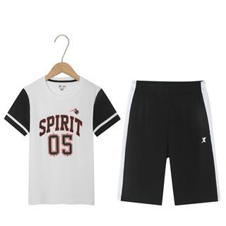 特步 男童篮球比赛套装 儿童休闲短袖短裤两件套681225389134