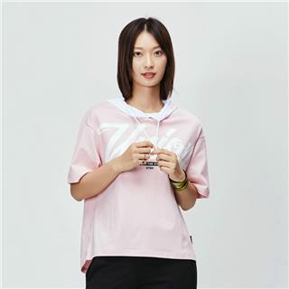 特步 专柜款 女子短袖针织衫 连帽时尚宽松学生休闲运动衫981228012591