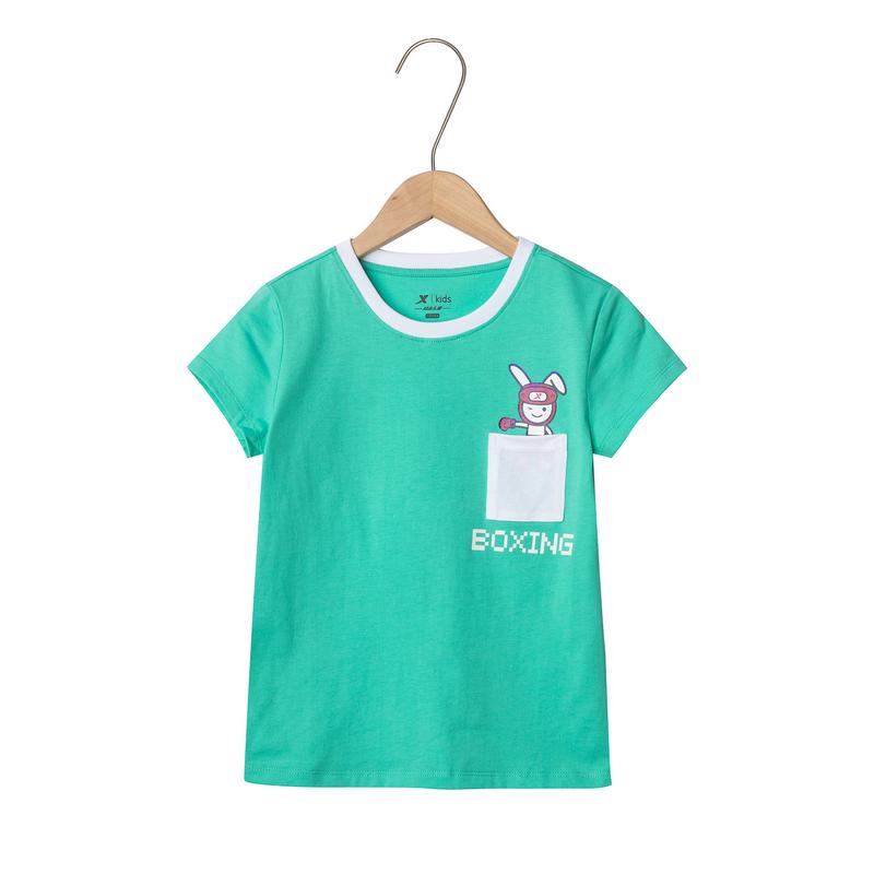 特步 女童短袖针织衫 19夏新款儿童中大童舒适上衣681224019127