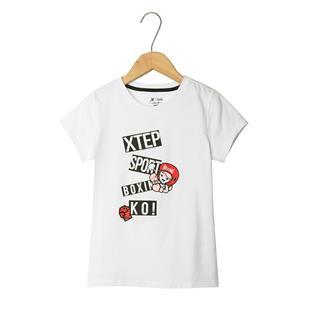 特步 女童短袖针织衫 儿童中小童时尚卡通T恤681224019120