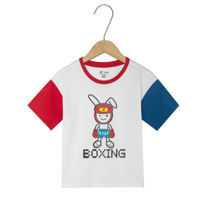 特步 女童短袖针织衫 19夏新款儿童中小童时尚T恤681224019121