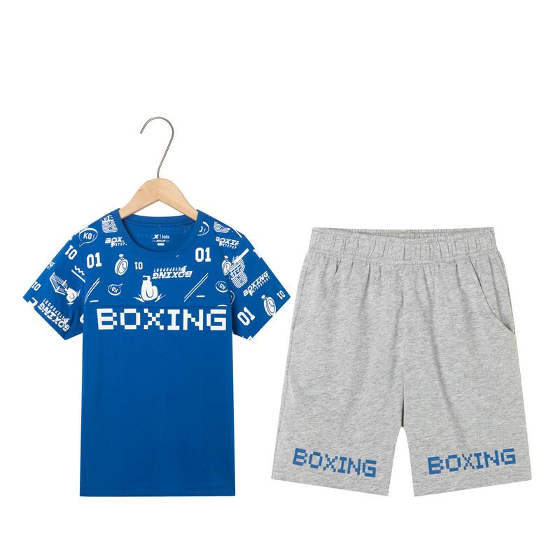 特步 男童针织套装 中大童儿童短袖短裤两件套681225349104