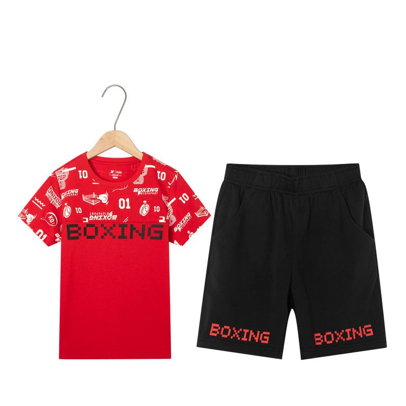 特步 男童针织套装 19夏新款中大童儿童短袖短裤两件套681225349104