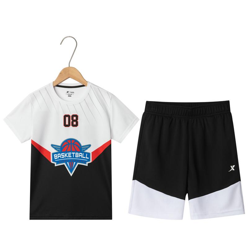 特步 男童篮球套装 中大童新款舒适透气运动篮球套装681225389133