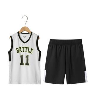 特步 男童都市篮球套装 中大童舒适透气背心短裤运动套装681225389136