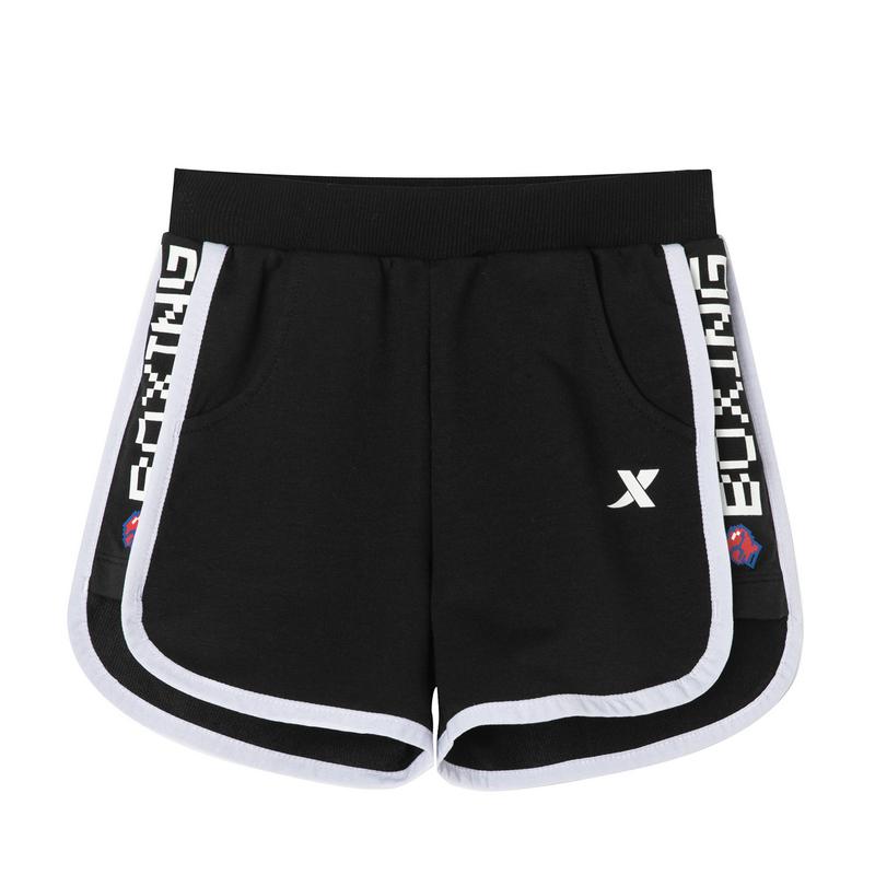 特步 女童运动时尚短裤 新款舒适透气运动短裤681224609124