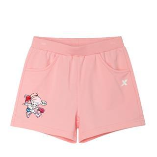 特步 女童休闲针织短裤 中大童新款都市时尚百搭卡通短裤681224609131