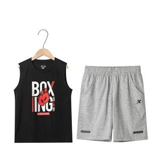 特步 男童新款运动套装 中大童都市休闲运动时尚短袖套装681225349105