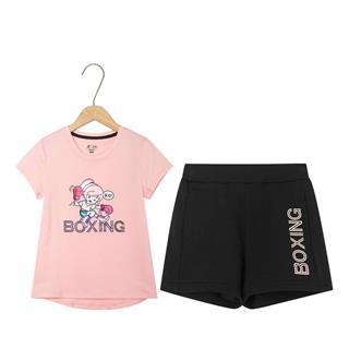 特步 女童休闲针织套装 中小童新款卡通可爱时尚短袖针织套装681224349122
