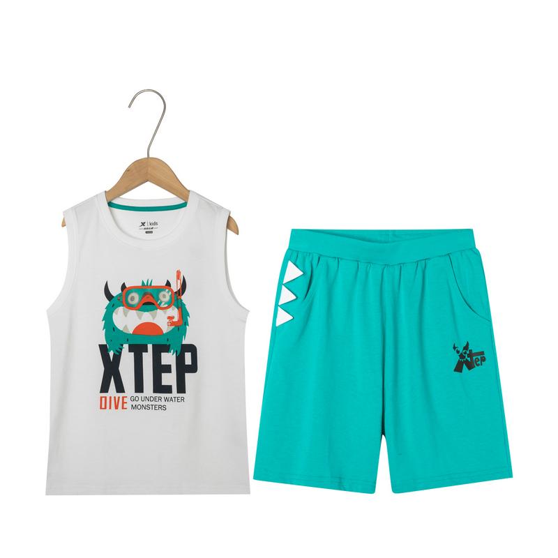 特步 男童运动套装 中小童卡通可爱舒适柔软针织运动套装681225349147