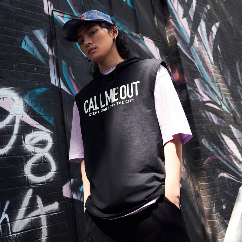 【这就是街舞】特步 男子无袖连帽T恤2019夏季新款宽松潮流背心881229019308
