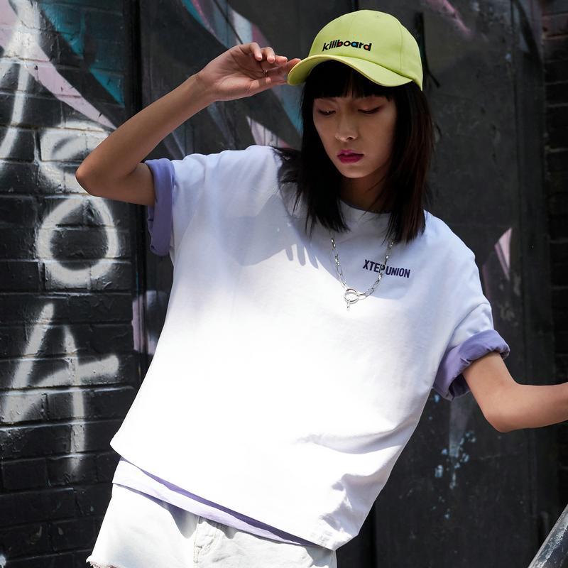 【这就是街舞】特步 女子短袖T恤 2019夏宽松上衣女装潮881228019312